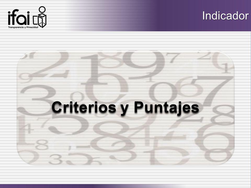 Criterios y Puntajes Criterios y Puntajes Criterios y Puntajes Criterios y PuntajesIndicador