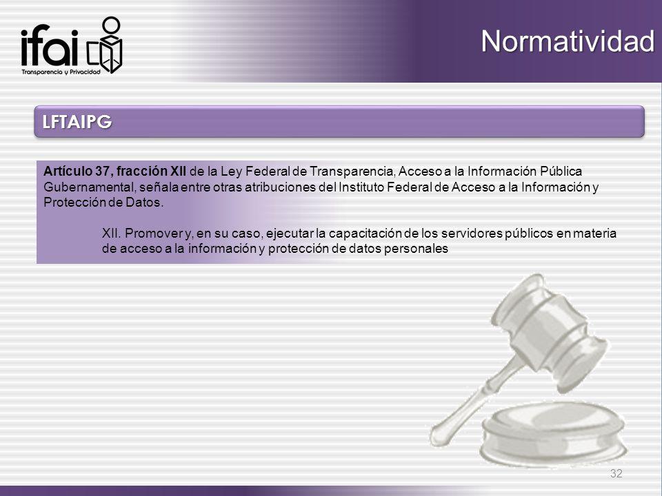 LFTAIPGLFTAIPG 32 Normatividad Artículo 37, fracción XII de la Ley Federal de Transparencia, Acceso a la Información Pública Gubernamental, señala ent