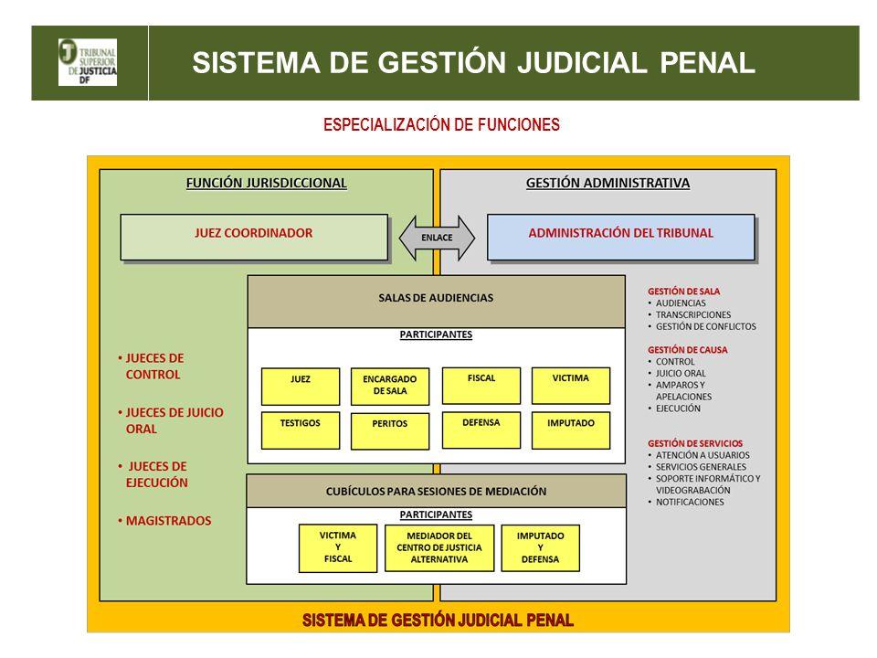 SISTEMA DE GESTIÓN JUDICIAL PENAL ESPECIALIZACIÓN DE FUNCIONES