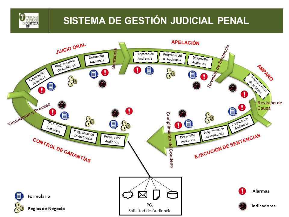 SISTEMA DE GESTIÓN JUDICIAL PENAL PGJ Solicitud de Audiencia Preparación Audiencia Programación de Audiencia Desarrollo Audiencia CONTROL DE GARANTÍAS