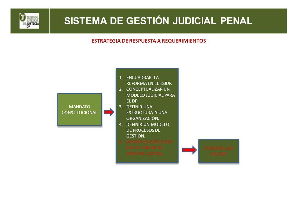 SISTEMA DE GESTIÓN JUDICIAL PENAL ESTRATEGIA DE RESPUESTA A REQUERIMIENTOS MANDATO CONSTITUCIONAL 1.ENCUADRAR LA REFORMA EN EL TSJDF. 2.CONCEPTUALIZAR