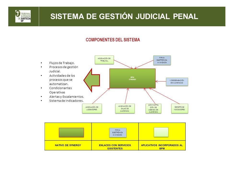 SISTEMA DE GESTIÓN JUDICIAL PENAL COMPONENTES DEL SISTEMA BPM SYNERGY BPM SYNERGY ASIGNACIÓN DE TRIBUNAL FIRMA ELECTRÓNICA AVANZADA VIDEOGRABACIÓN DE AUDIENCIAS ASIGNACIÓN DE JUZGADORES ASIGNACIÓN DE SALAS DE AUDIENCIA ADMINISTRA CIÓN DE AGENDA DE AUDIENCIA REPORTE DE INDICADORES Flujos de Trabajo.