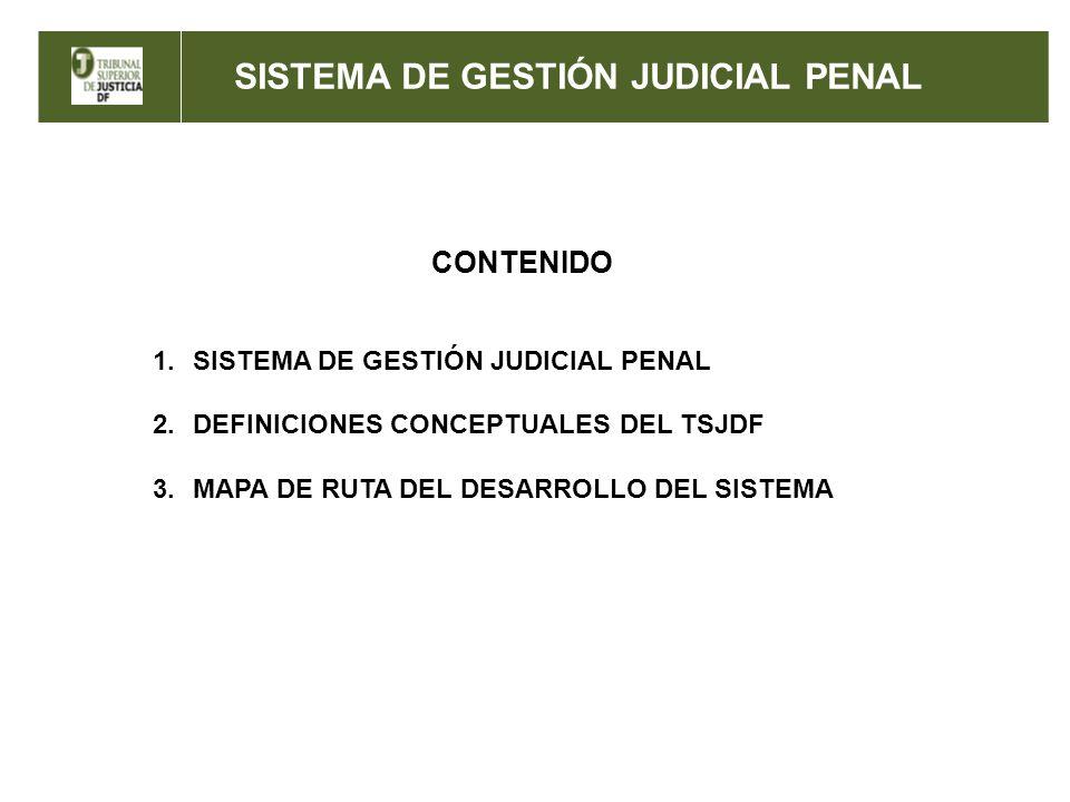 SISTEMA DE GESTIÓN JUDICIAL PENAL CONTENIDO 1.SISTEMA DE GESTIÓN JUDICIAL PENAL 2.DEFINICIONES CONCEPTUALES DEL TSJDF 3.MAPA DE RUTA DEL DESARROLLO DE