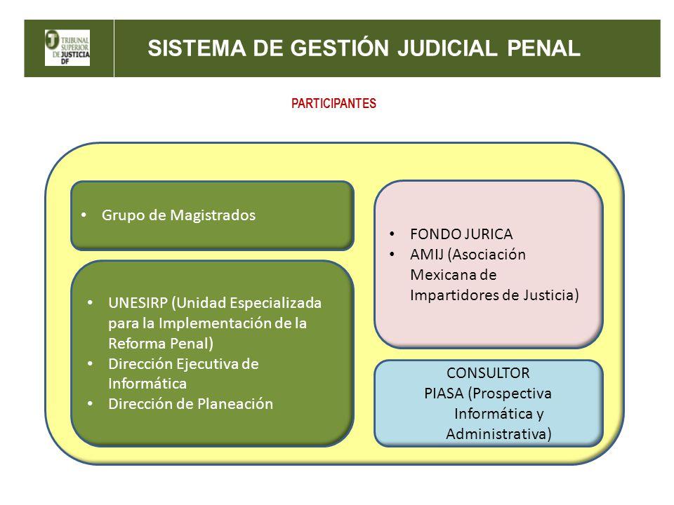 PARTICIPANTES UNESIRP (Unidad Especializada para la Implementación de la Reforma Penal) Dirección Ejecutiva de Informática Dirección de Planeación FONDO JURICA AMIJ (Asociación Mexicana de Impartidores de Justicia) CONSULTOR PIASA (Prospectiva Informática y Administrativa) Grupo de Magistrados