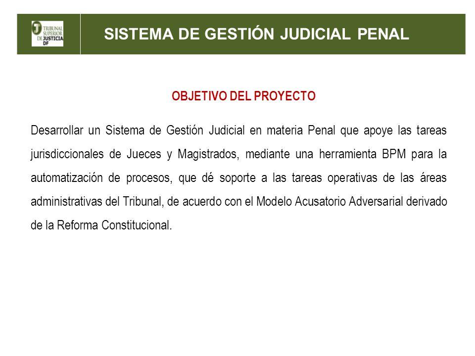 SISTEMA DE GESTIÓN JUDICIAL PENAL OBJETIVO DEL PROYECTO Desarrollar un Sistema de Gestión Judicial en materia Penal que apoye las tareas jurisdicciona