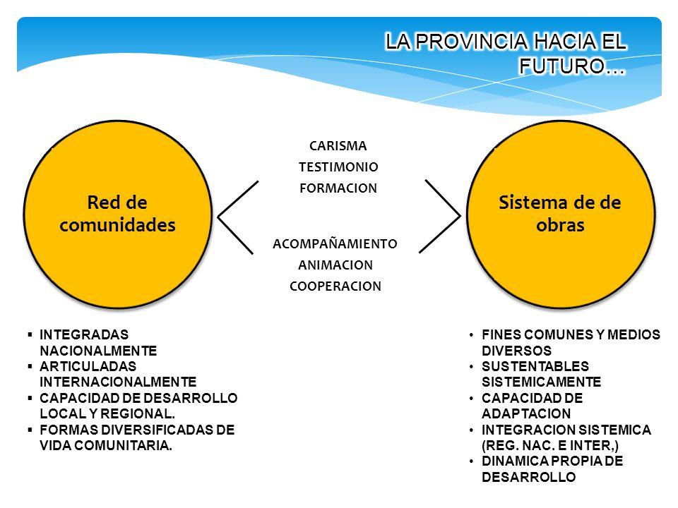 Red de comunidades CARISMA TESTIMONIO FORMACION ACOMPAÑAMIENTO ANIMACION COOPERACION Sistema de de obras INTEGRADAS NACIONALMENTE ARTICULADAS INTERNAC