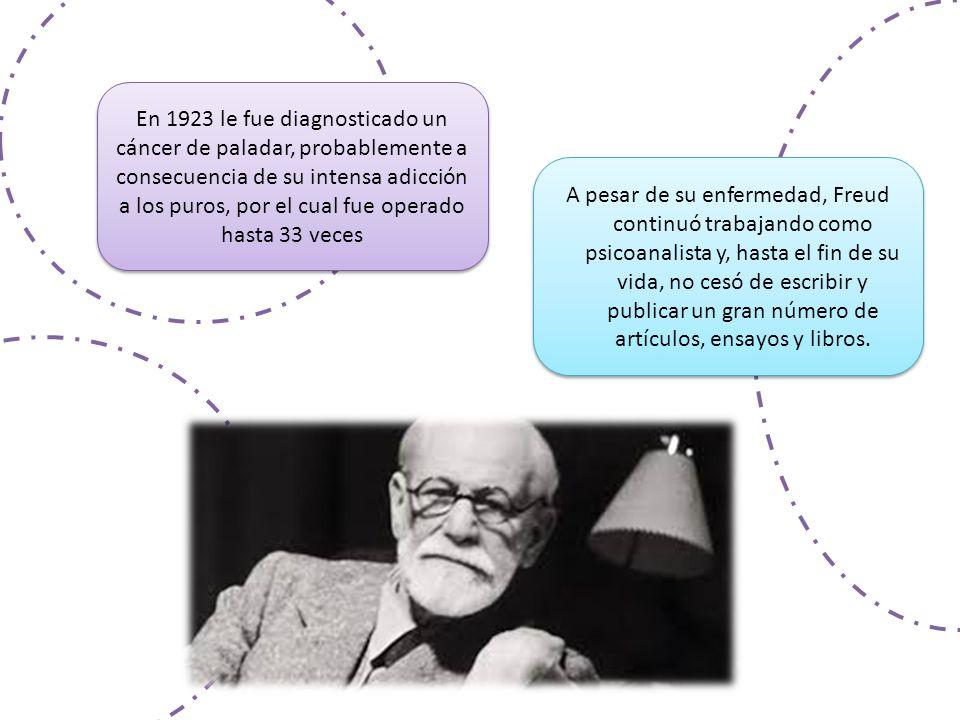 En 1923 le fue diagnosticado un cáncer de paladar, probablemente a consecuencia de su intensa adicción a los puros, por el cual fue operado hasta 33 veces A pesar de su enfermedad, Freud continuó trabajando como psicoanalista y, hasta el fin de su vida, no cesó de escribir y publicar un gran número de artículos, ensayos y libros.
