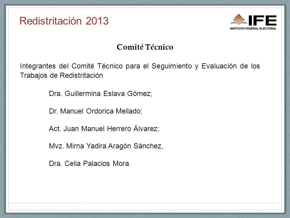 Redistritación 2013 Comité Técnico Integrantes del Comité Técnico para el Seguimiento y Evaluación de los Trabajos de Redistritación Dra.