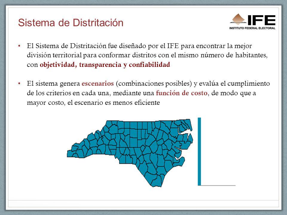 Sistema de Distritación El Sistema de Distritación fue diseñado por el IFE para encontrar la mejor división territorial para conformar distritos con el mismo número de habitantes, con objetividad, transparencia y confiabilidad El sistema genera escenarios (combinaciones posibles) y evalúa el cumplimiento de los criterios en cada una, mediante una función de costo, de modo que a mayor costo, el escenario es menos eficiente