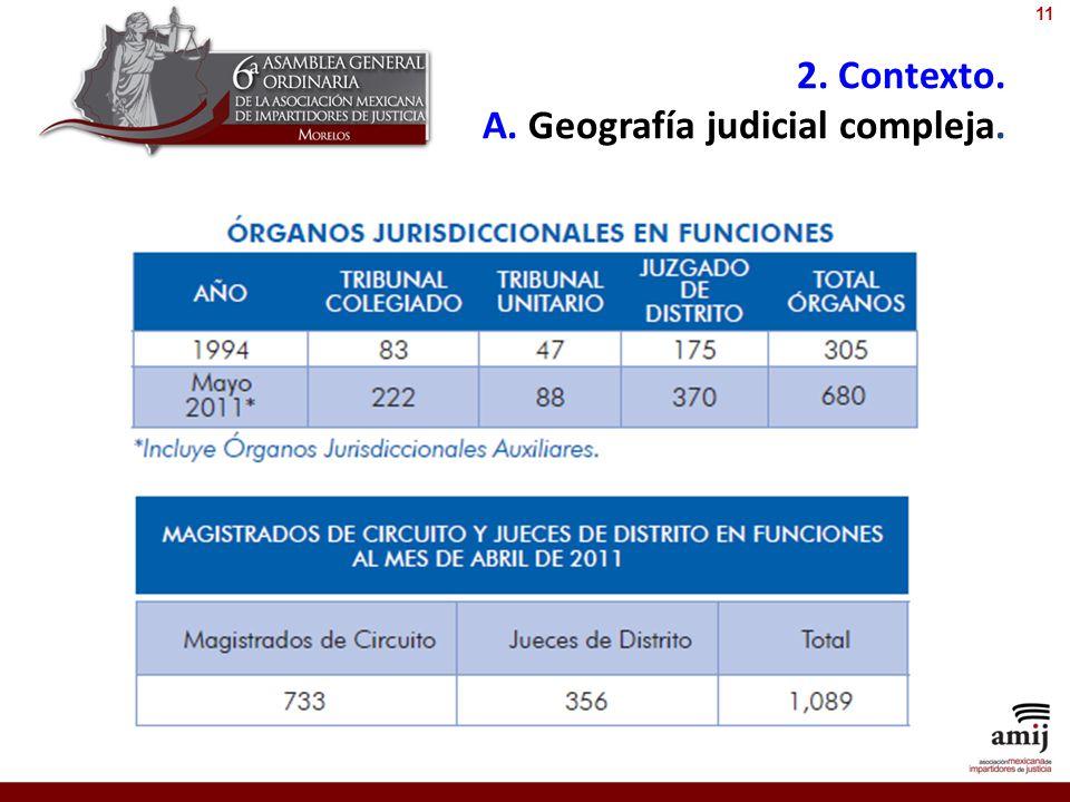 2. Contexto. A. Geografía judicial compleja. 11