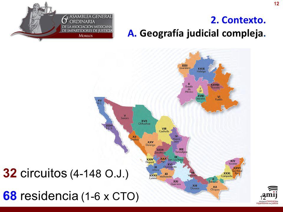 2. Contexto. A. Geografía judicial compleja. 12 32 circuitos (4-148 O.J.) 68 residencia (1-6 x CTO) 12