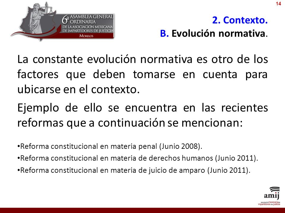2. Contexto. B. Evolución normativa. La constante evolución normativa es otro de los factores que deben tomarse en cuenta para ubicarse en el contexto