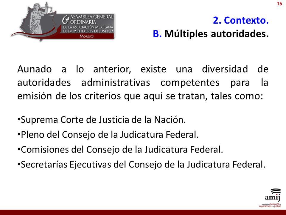 2. Contexto. B. Múltiples autoridades. Aunado a lo anterior, existe una diversidad de autoridades administrativas competentes para la emisión de los c