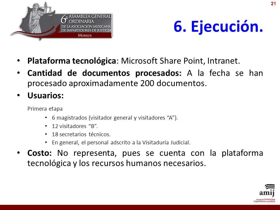 6. Ejecución. Plataforma tecnológica: Microsoft Share Point, Intranet. Cantidad de documentos procesados: A la fecha se han procesado aproximadamente