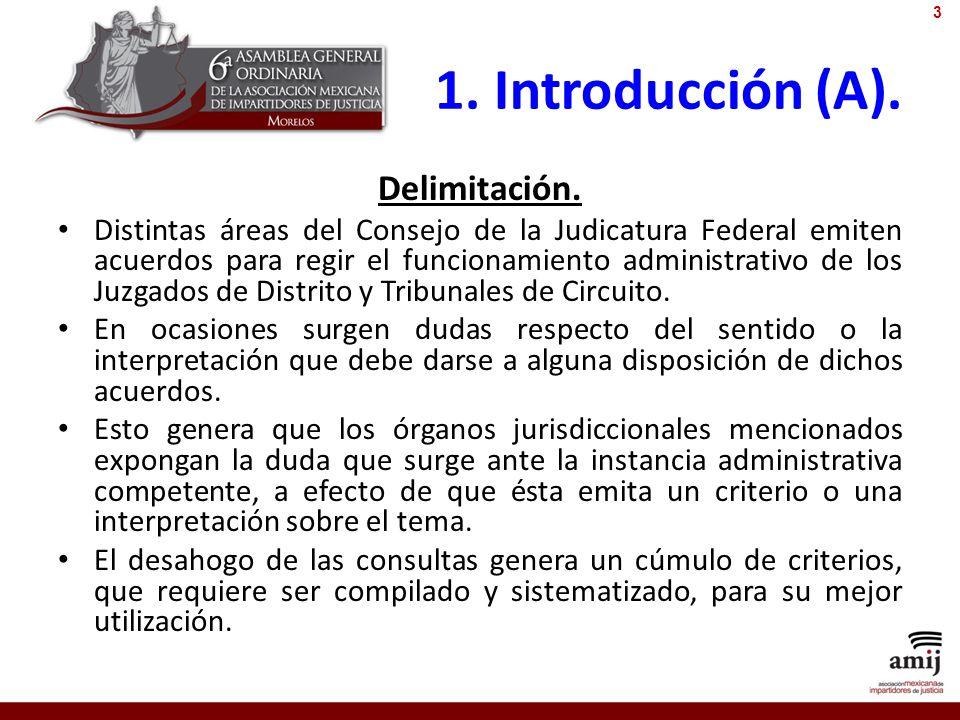 1. Introducción (A). Delimitación. Distintas áreas del Consejo de la Judicatura Federal emiten acuerdos para regir el funcionamiento administrativo de