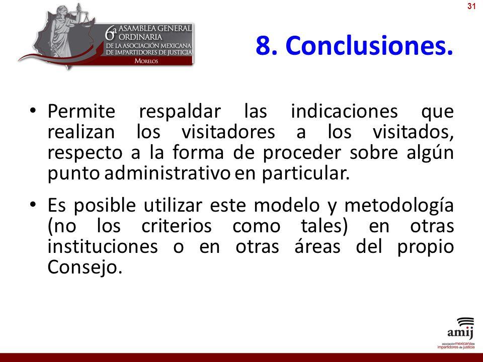 8. Conclusiones. Permite respaldar las indicaciones que realizan los visitadores a los visitados, respecto a la forma de proceder sobre algún punto ad