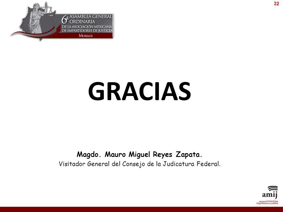 GRACIAS Magdo. Mauro Miguel Reyes Zapata. Visitador General del Consejo de la Judicatura Federal. 32