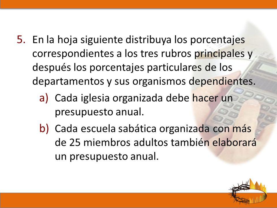 5. En la hoja siguiente distribuya los porcentajes correspondientes a los tres rubros principales y después los porcentajes particulares de los depart