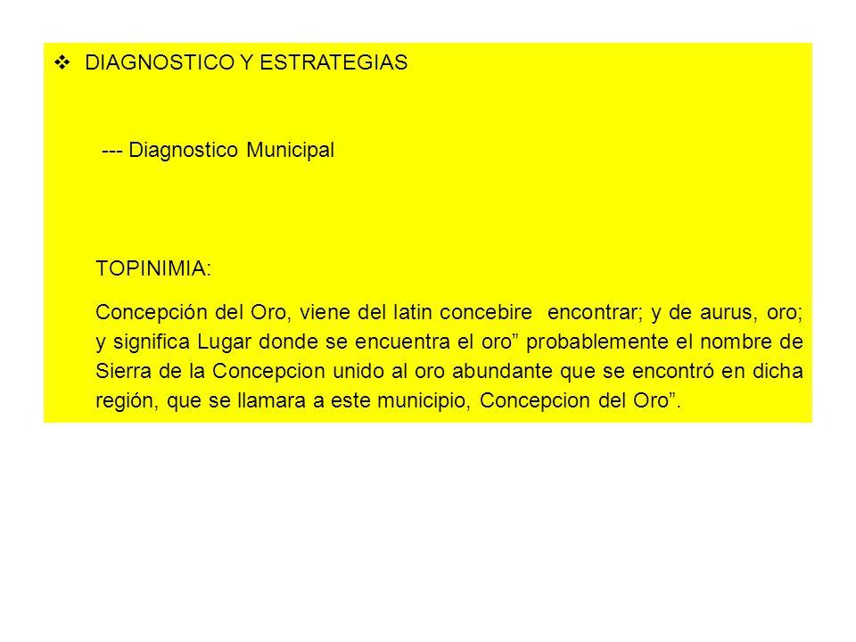 DIAGNOSTICO Y ESTRATEGIAS --- Diagnostico Municipal TOPINIMIA: Concepción del Oro, viene del latin concebire encontrar; y de aurus, oro; y significa L