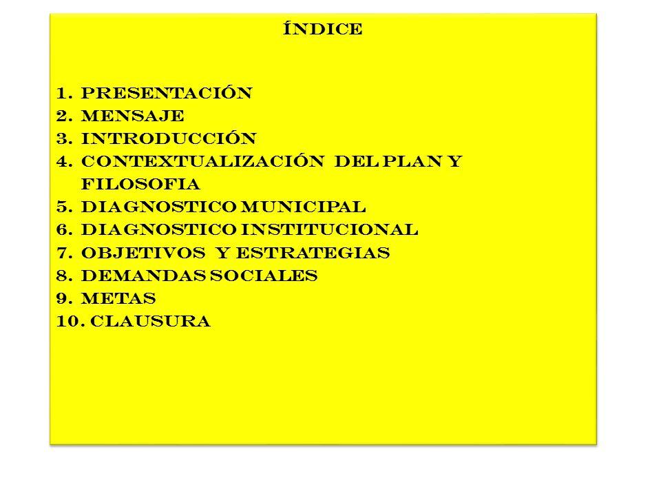 Índice 1.Presentación 2.MENSAJE 3.Introducción 4.Contextualización del plan y fIlosofia 5.Diagnostico MUNICIPAL 6.DIAGNOSTICO INSTITUCIONAL 7.OBJETIVO
