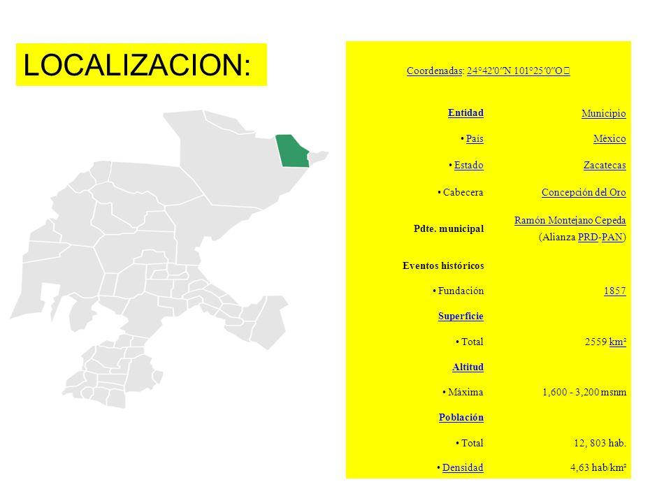 LOCALIZACION: CoordenadasCoordenadas: 24°420N 101°250O Entidad Municipio País México Estado Zacatecas CabeceraConcepción del Oro Pdte. municipal Ramón