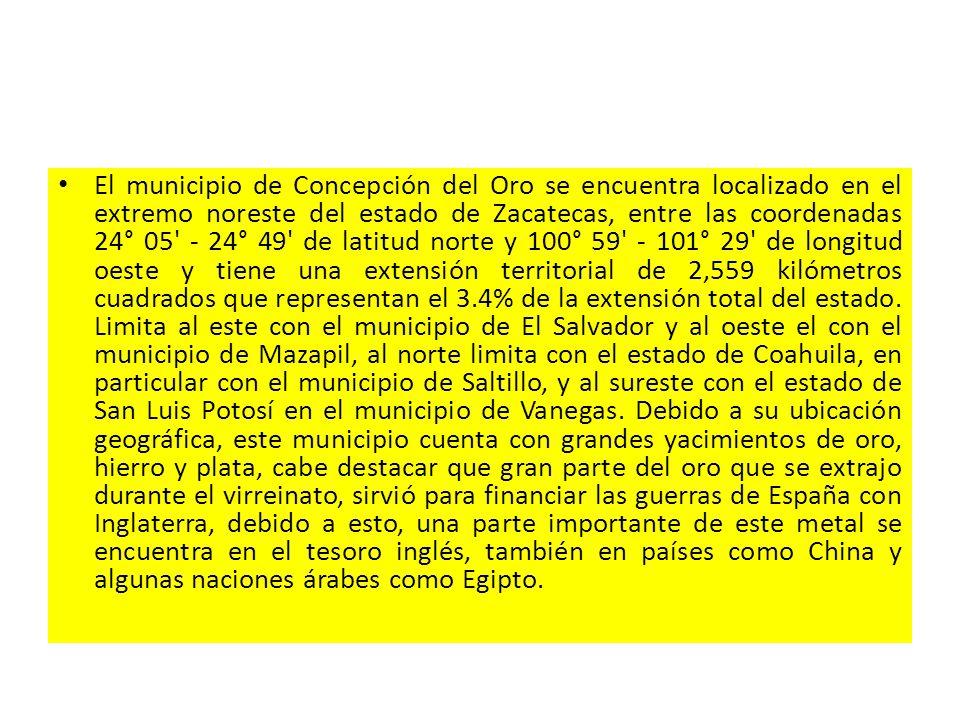 El municipio de Concepción del Oro se encuentra localizado en el extremo noreste del estado de Zacatecas, entre las coordenadas 24° 05' - 24° 49' de l