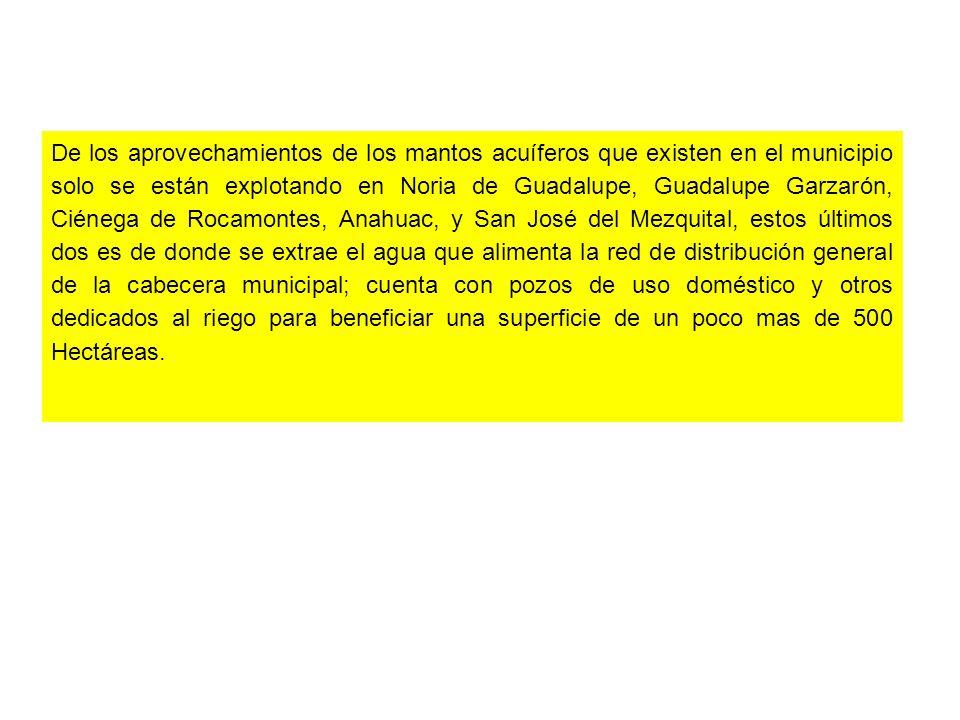 De los aprovechamientos de los mantos acuíferos que existen en el municipio solo se están explotando en Noria de Guadalupe, Guadalupe Garzarón, Ciéneg