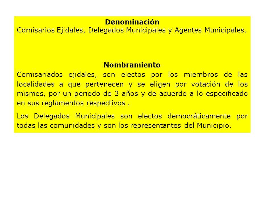 Denominación Comisarios Ejidales, Delegados Municipales y Agentes Municipales. Nombramiento Comisariados ejidales, son electos por los miembros de las