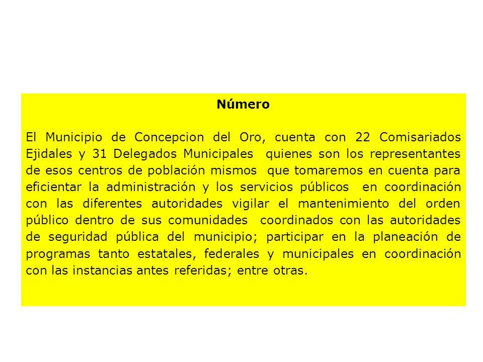Número El Municipio de Concepcion del Oro, cuenta con 22 Comisariados Ejidales y 31 Delegados Municipales quienes son los representantes de esos centr