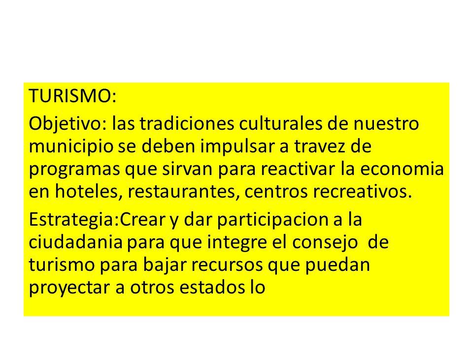 TURISMO: Objetivo: las tradiciones culturales de nuestro municipio se deben impulsar a travez de programas que sirvan para reactivar la economia en ho