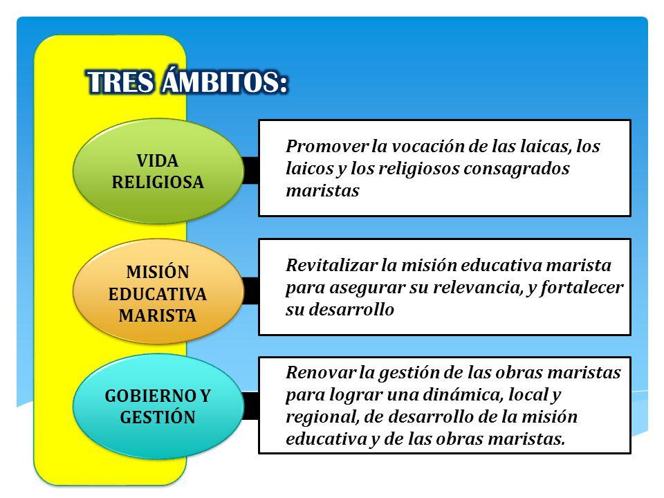 Promover la vocación de las laicas, los laicos y los religiosos consagrados maristas VIDA RELIGIOSA MISIÓN EDUCATIVA MARISTA GOBIERNO Y GESTIÓN Revita
