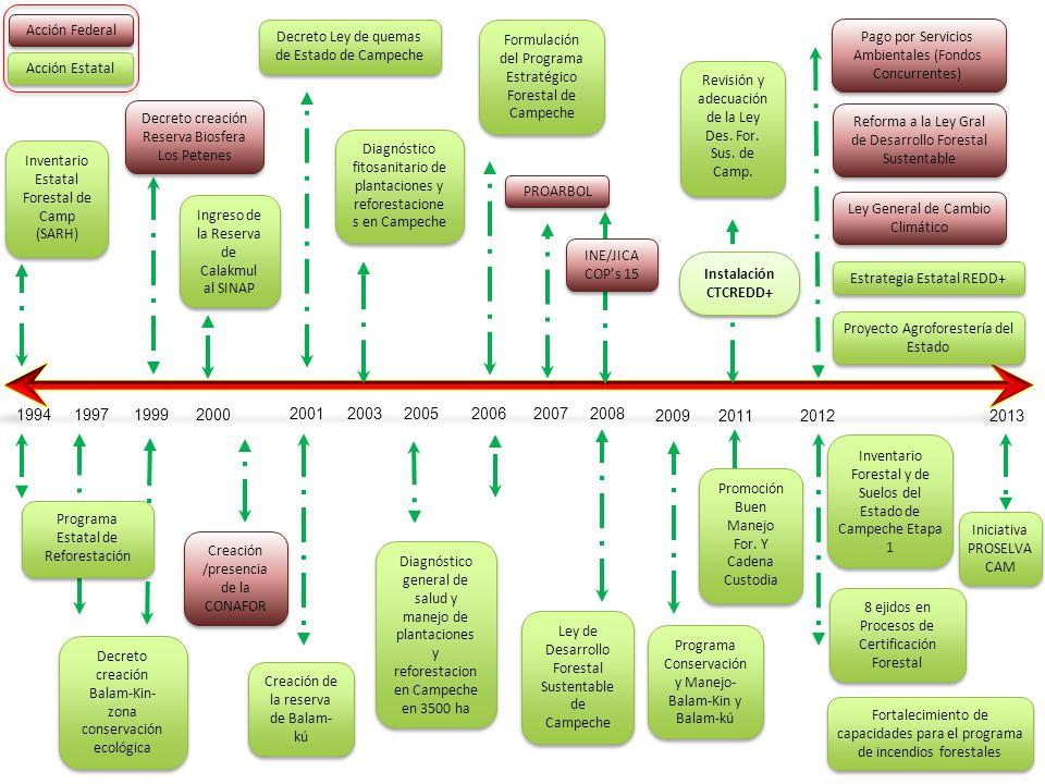 Acciones y Proyectos Enfocados a REDD+ 7.- Para la Restauración del Paisaje Forestal, para la región de Calakmúl se trabaja en un modelo de Manejo de Acahuales.