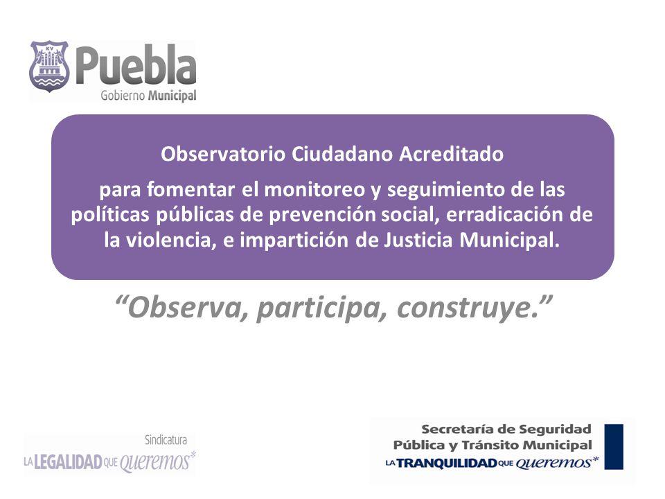 Observatorio Ciudadano Acreditado para fomentar el monitoreo y seguimiento de las políticas públicas de prevención social, erradicación de la violencia, e impartición de Justicia Municipal.