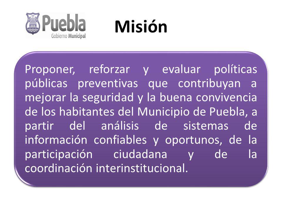 Misión Proponer, reforzar y evaluar políticas públicas preventivas que contribuyan a mejorar la seguridad y la buena convivencia de los habitantes del Municipio de Puebla, a partir del análisis de sistemas de información confiables y oportunos, de la participación ciudadana y de la coordinación interinstitucional.