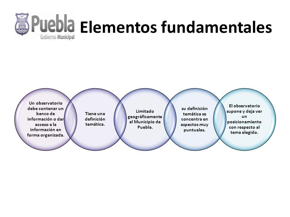 Elementos fundamentales Un observatorio debe contener un banco de información o dar acceso a la información en forma organizada.