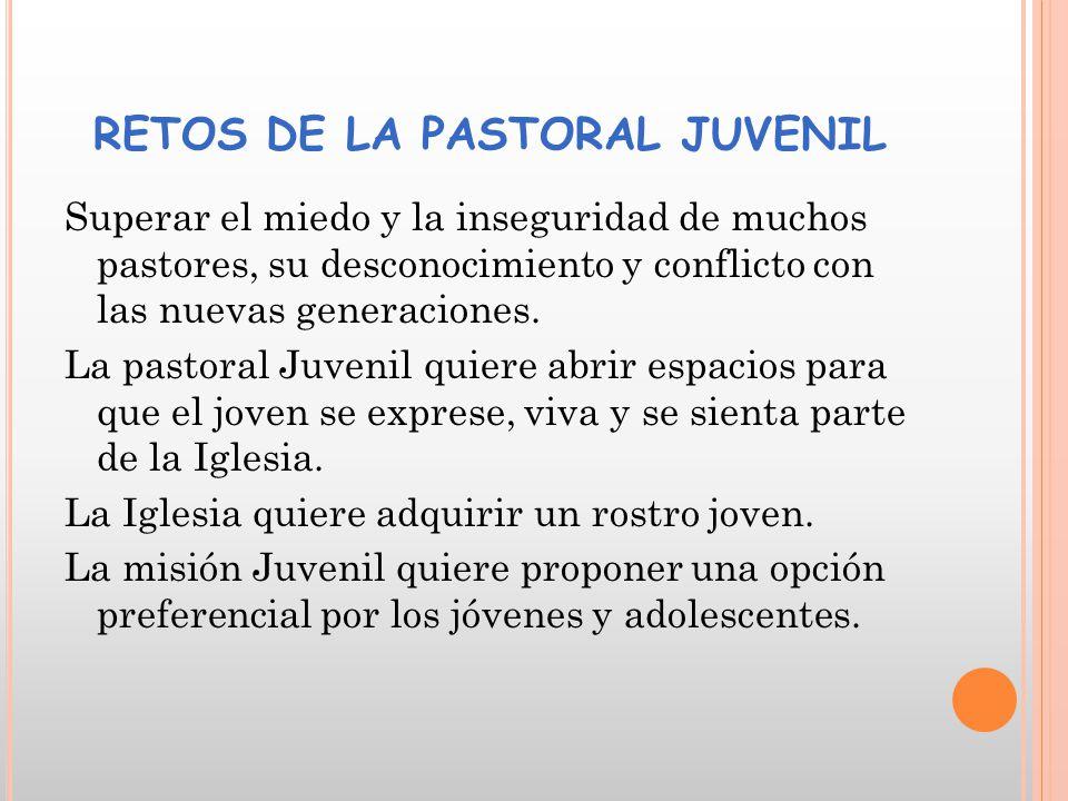 RETOS DE LA PASTORAL JUVENIL Superar el miedo y la inseguridad de muchos pastores, su desconocimiento y conflicto con las nuevas generaciones.