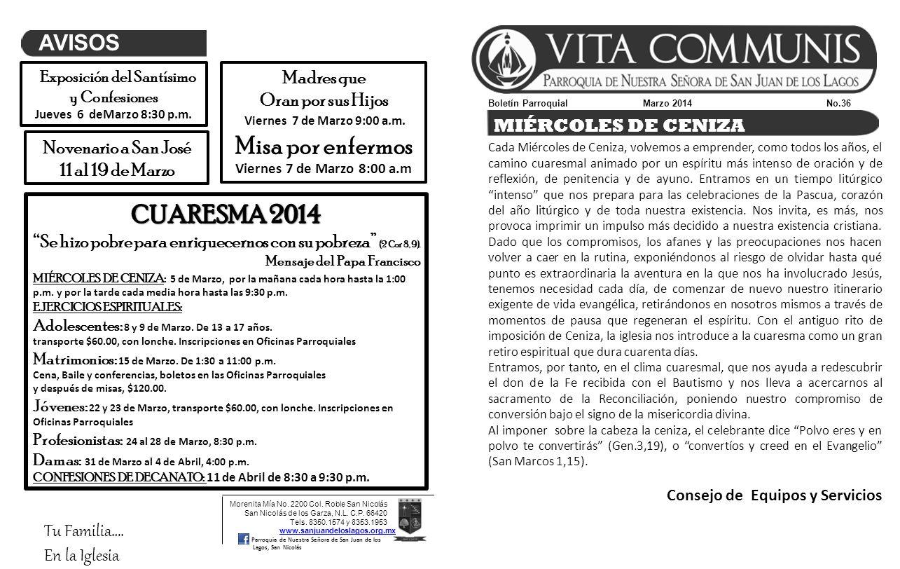 Boletín Parroquial Marzo 2014 No.36 Morenita Mía No.