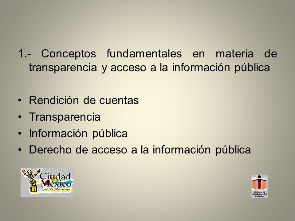 1.- Conceptos fundamentales en materia de transparencia y acceso a la información pública Rendición de cuentas Transparencia Información pública Derecho de acceso a la información pública