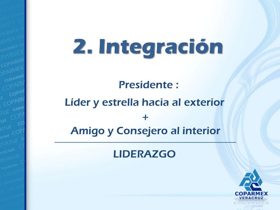 2. Integración Presidente : Líder y estrella hacia al exterior + Amigo y Consejero al interior LIDERAZGO