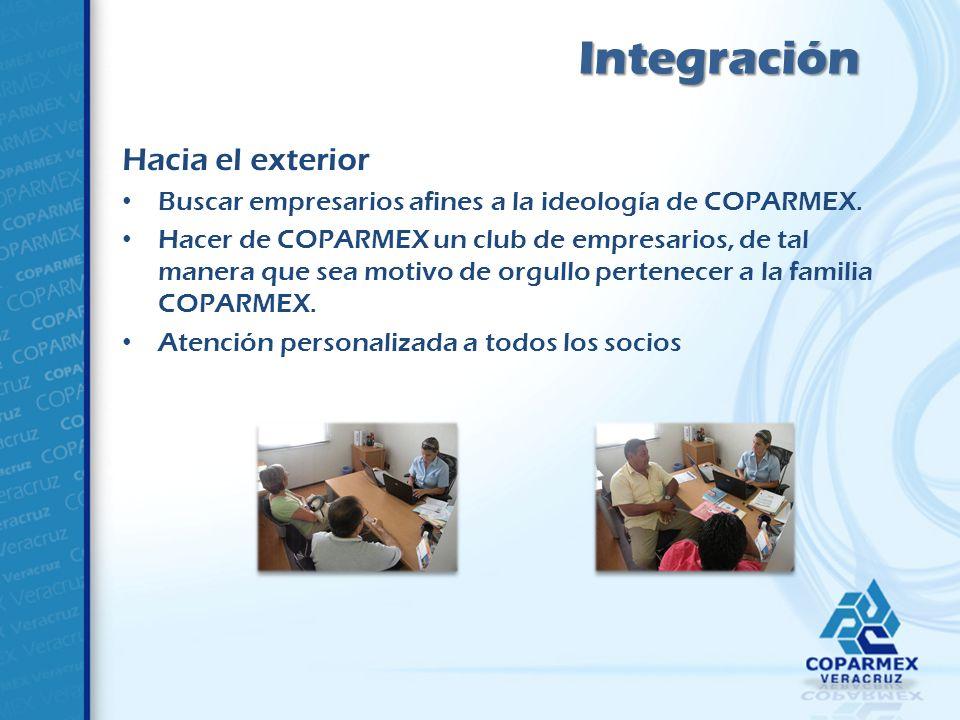 Hacia el exterior Buscar empresarios afines a la ideología de COPARMEX.