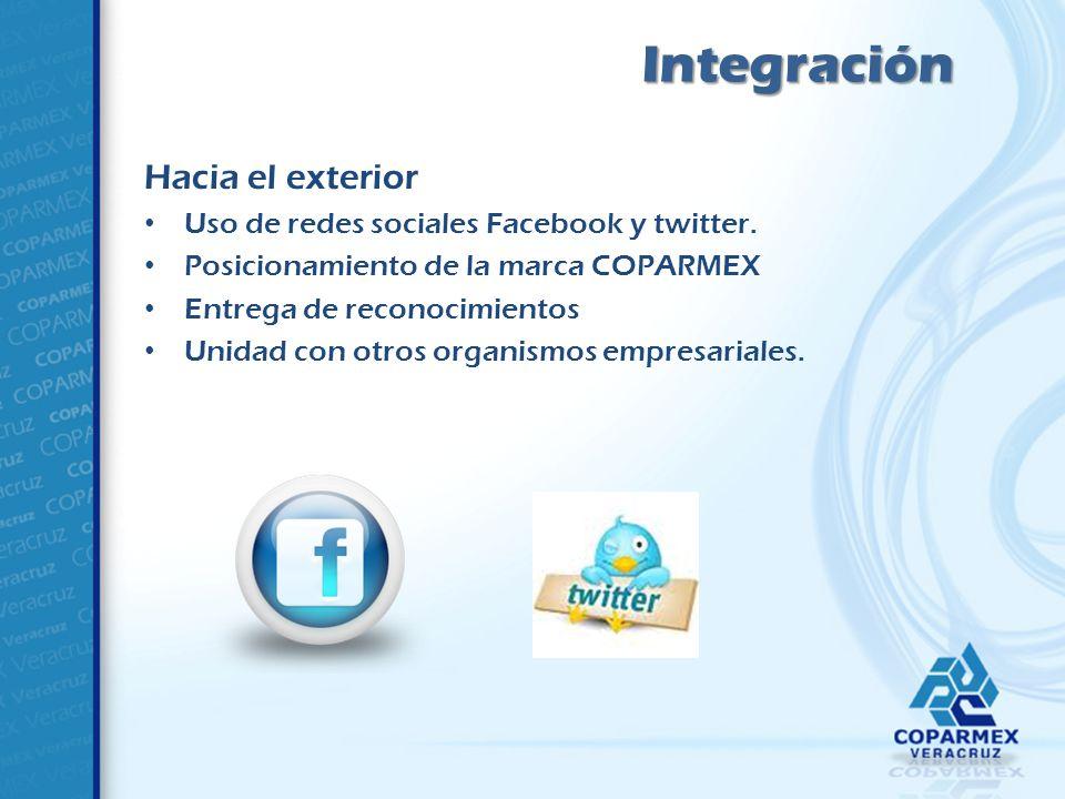 Hacia el exterior Uso de redes sociales Facebook y twitter.
