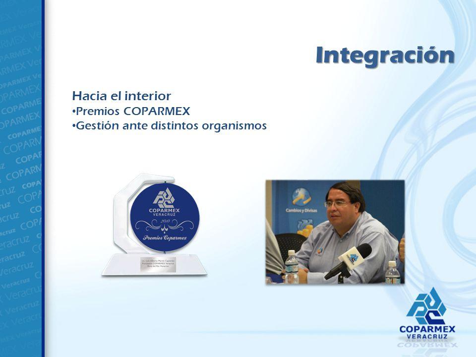 Integración Hacia el interior Premios COPARMEX Gestión ante distintos organismos