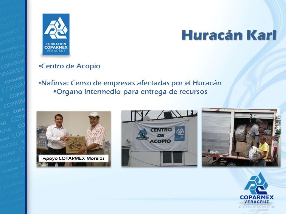 Huracán Karl Centro de Acopio Nafinsa: Censo de empresas afectadas por el Huracán Organo intermedio para entrega de recursos Apoyo COPARMEX Morelos