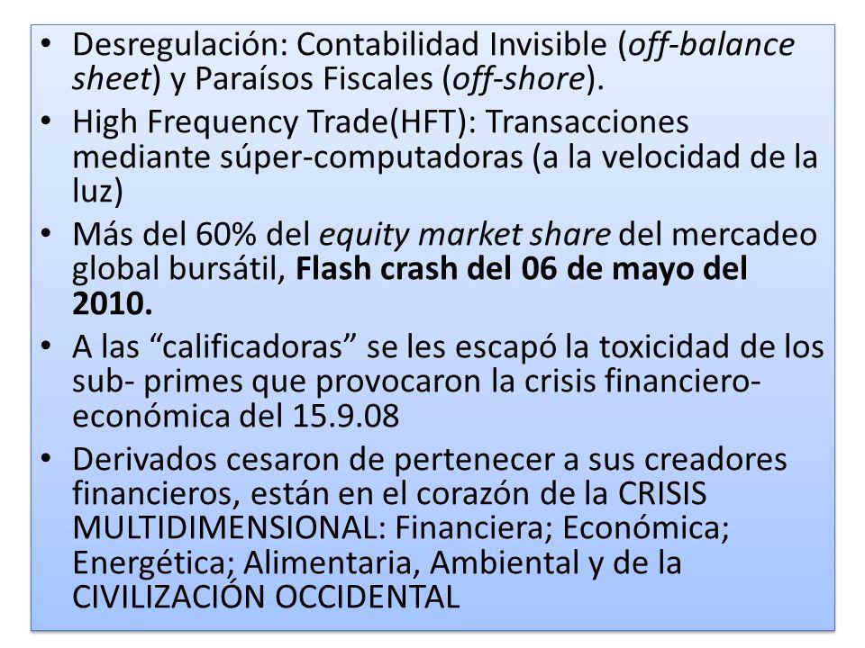 Desregulación: Contabilidad Invisible (off-balance sheet) y Paraísos Fiscales (off-shore). High Frequency Trade(HFT): Transacciones mediante súper-com