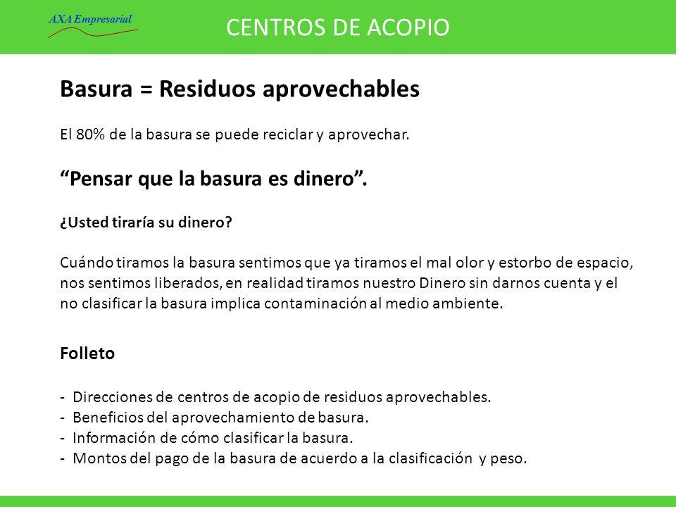 CENTROS DE ACOPIO Folleto - Direcciones de centros de acopio de residuos aprovechables. - Beneficios del aprovechamiento de basura. - Información de c
