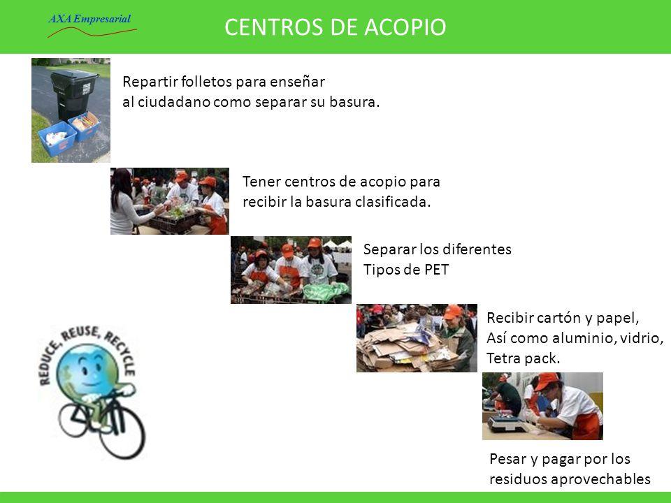 CENTROS DE ACOPIO Repartir folletos para enseñar al ciudadano como separar su basura. Tener centros de acopio para recibir la basura clasificada. Sepa