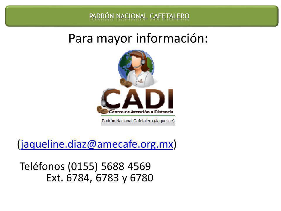 (jaqueline.diaz@amecafe.org.mx) Teléfonos (0155) 5688 4569 Ext. 6784, 6783 y 6780jaqueline.diaz@amecafe.org.mx Para mayor información: