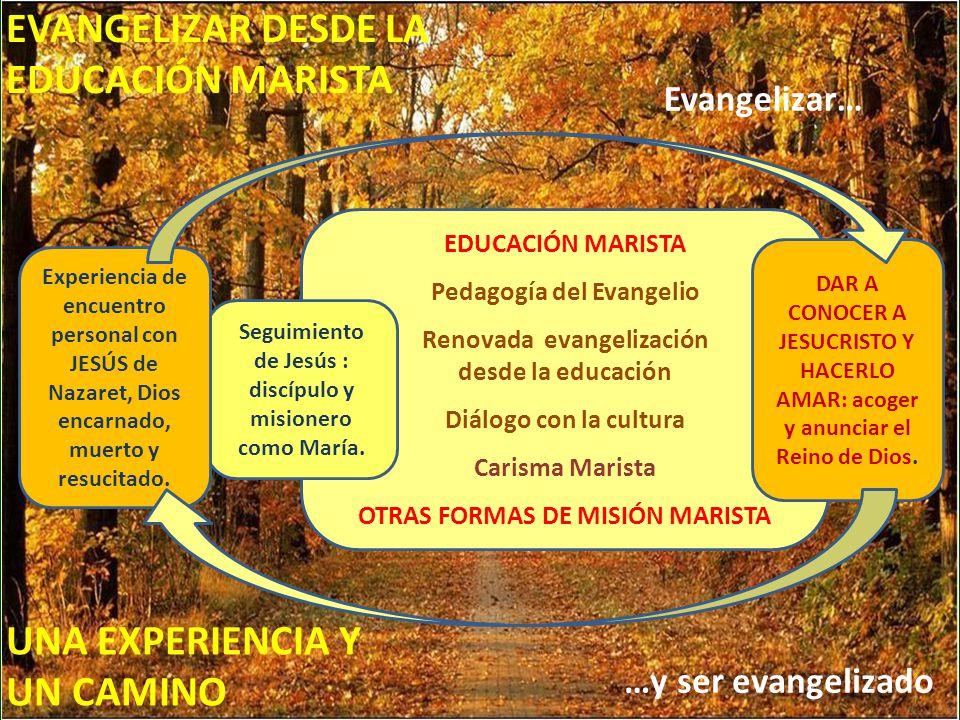 EDUCACIÓN MARISTA Pedagogía del Evangelio Renovada evangelización desde la educación Diálogo con la cultura Carisma Marista OTRAS FORMAS DE MISIÓN MARISTA Seguimiento de Jesús : discípulo y misionero como María.