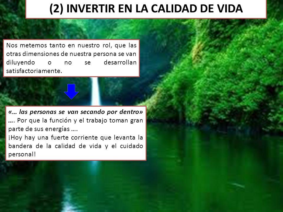 (2) INVERTIR EN LA CALIDAD DE VIDA Nos metemos tanto en nuestro rol, que las otras dimensiones de nuestra persona se van diluyendo o no se desarrollan satisfactoriamente.