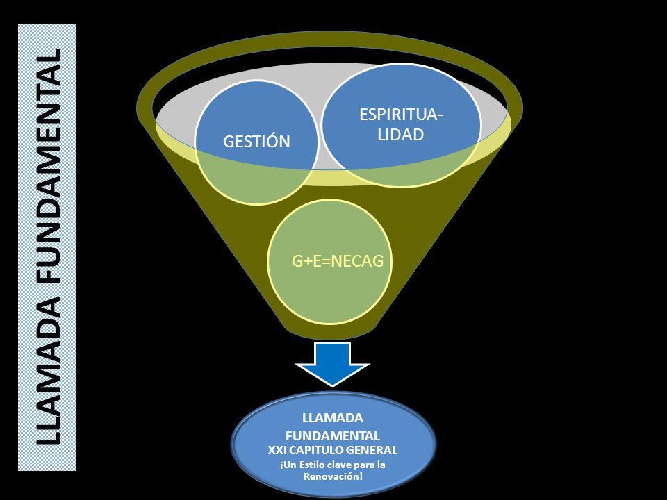 G+E=NECAGGESTIÓN ESPIRITUA- LIDAD LLAMADA FUNDAMENTAL XXI CAPITULO GENERAL ¡Un Estilo clave para la Renovación.